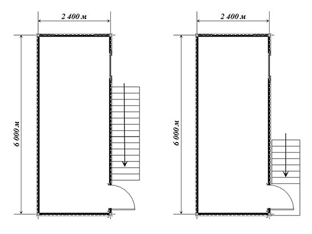 планировка двухэтажной бытовки