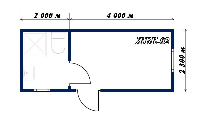 план-схема блок-контейнера ЖБК-02