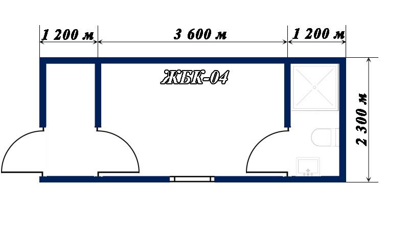 план-схема блок-контейнера ЖБК-04